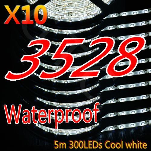 10X 5M Flexible 300 LED Strip Streifen 3528-SMD wasserdicht für 73,44€ & versandkostenlos
