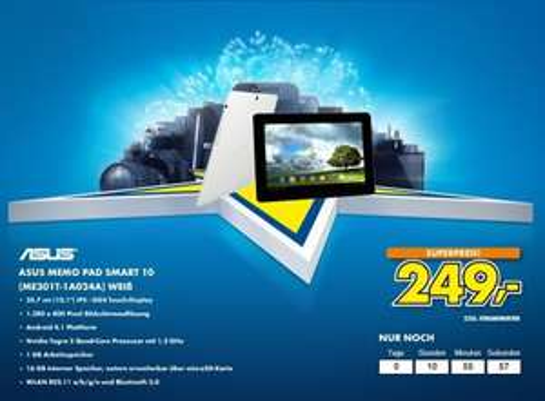 [EURONICS] Asus MeMO Pad Smart 10 für 249€ / Idealo ab 280€