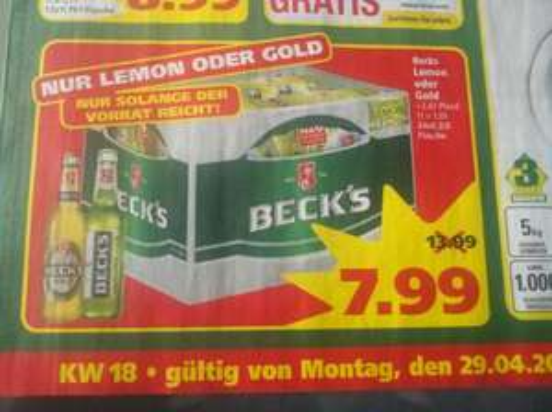 (Lokal Bremen/Stuhr)Beck's Lemon oder Gold 24x0,33l bei Marktkauf