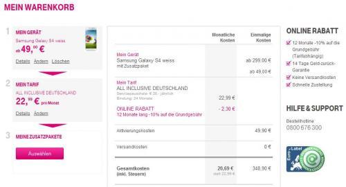 Grenzgänger Mobilfunktarif mit Samsung S4 T-Mobile Österreich