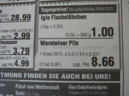 [Lokal] Warsteiner Pils 1 Kasten (je 20 * 0,5l oder 24*0,33l) zu 8,66 EUR zzgl. Pfand bei Jahns (REWE), Hamm