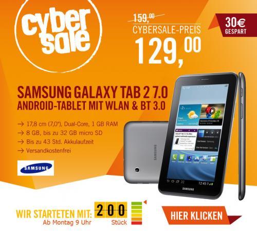 Samsung Galaxy Tab 2 7.0 8 GB WIFI titanium-silber @ Cyberport Cybersale ab 09.00 Uhr für 129,00 EUR