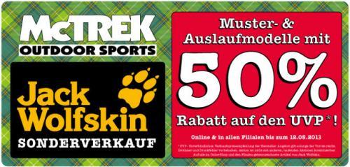 50% Rabatt auf Jack Wolfskin Restposten bei McTREK.de