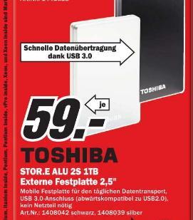 [MM Offenburg ] 1TB externe Festplatte Toshiba  STOR.E Alu 2S  (6,4 cm (2,5 Zoll), USB 3.0)  schwarz oder silber  59€
