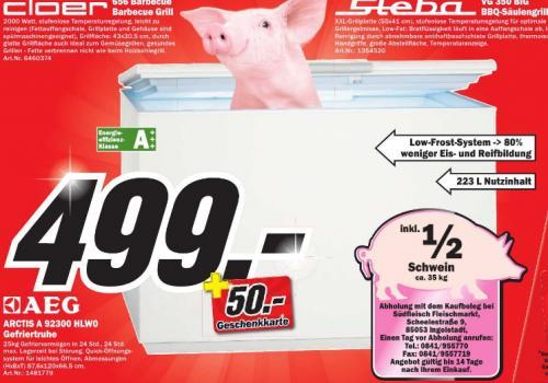 [MM Ingolstadt ]  Gefriertruhe AEG Arctis 92300HLW0 , EEK: A+++    ...............      mit halben Schwein( tot)   ...............        499€ mit 50€ Geschenkkarte