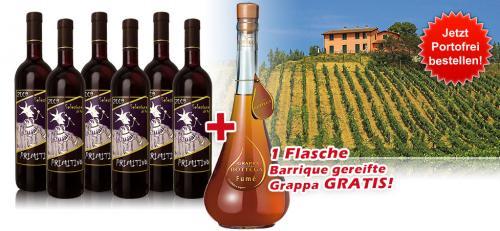 6 Flaschen Primitivo Selezione del Re (Rotwein) + 1 Flasche Grappe für 34,50€ inkl. VSK @ebrosia