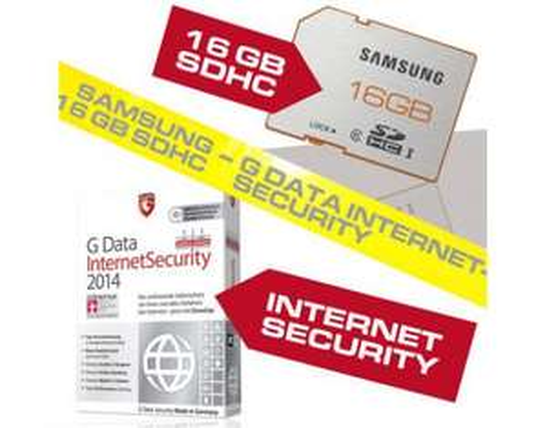 16 GB SDHC Samsung Class 6 plus Serie UHS-I + G DATA  G Data Internet Security 2014 OEM inkl. 12 Monate Signatur und Softwareupdates @meinpaket.de 16,99€