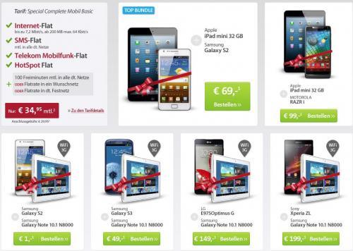 Neuer Sparhandy Deal - T-Mobile + diverse Bundles (z.B. Galaxy S3 + Galaxy Note 10.1), SMS Flat, Internetflat, T-Mobile Flat + 1 Wunschflat für 34,95 € im Monat  | Effektiv ~ ab 5,87 € pro Monat !!!