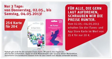 iTunes Geschenkkarte 20% billiger bei REWE