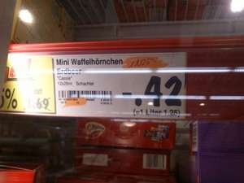 kaufland : mini Eiswaffel Erdbeere  im 12er pack für 0,42€ statt 1,69€