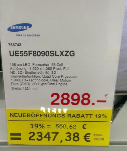 [Lokal] Kölner Raum - Samsung UE55F8090SLXZG für 2347,38