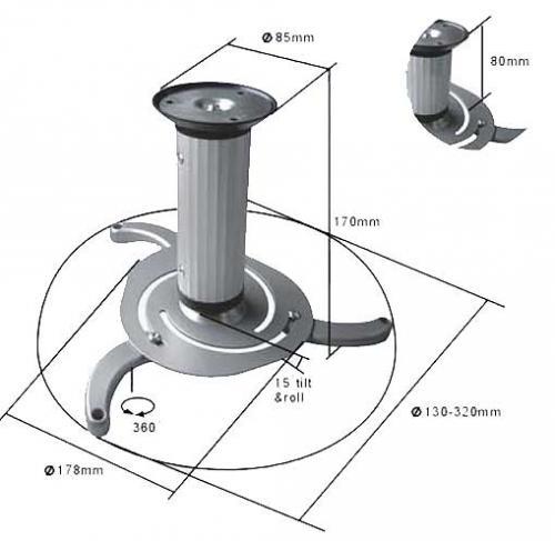 Beamer Deckenhalterung (360° DREHBAR. 15° NEIGBAR) für 12€ @Electrnoic Star