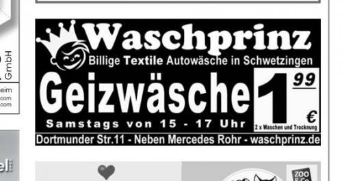 [Lokal Schwetzingen]  Normale Autowäsche bei Waschprinz Autowaschanlage 1,99 €
