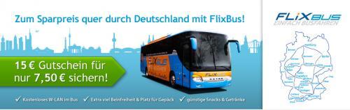 [quicker] FlixBus-Gutschein 15 Euro für 7,50 Euro (-50%)