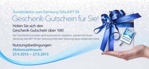 10€ Geschenkgutschein für Samsung Galaxy S4 Besitzer