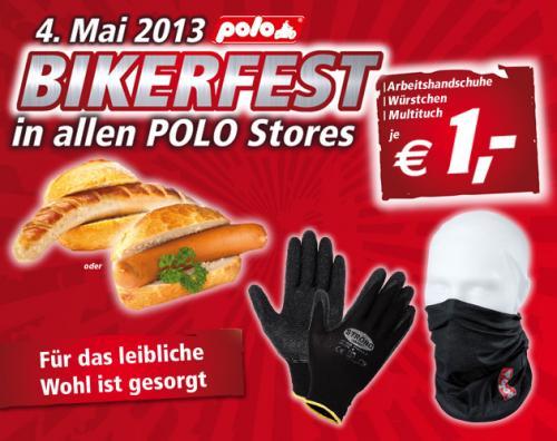 [offline bundesweit] Multituch oder Arbeitshandschuhe für je 1€ , Wiener oder Bratwurst im Brötchen für 1€ in allen Polo Motorradshops am 4.05.13 und am 5.5.13 10% in den Berliner Filialen