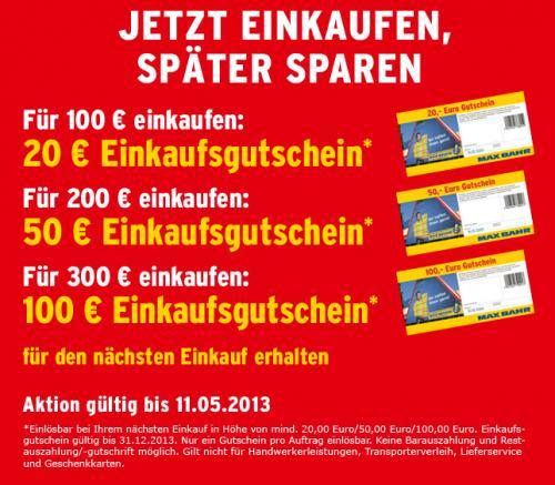 Einkaufsgutschein bis 100€ bei Max Bahr