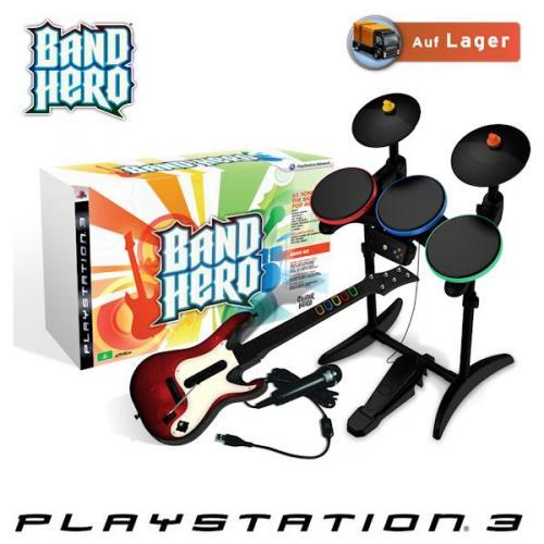 Band Hero SuperBundle für PS3 mit Game, Gitarre, Schlagzeug und Mikrofon bei iBOOD