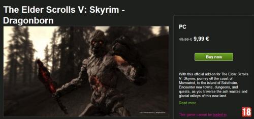 [PC] Skyrim Dragonborn(9,99€)+Hearthfire(2,49€) Greenmangaming