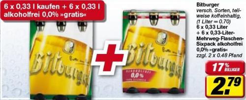 @toom: Bitburger Sixpack für 2,79 + Pfand kaufen Sixpack alkoholfrei gratis + Pfand bekommen