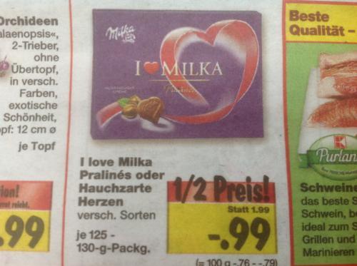 I Love Milka Pralines oder Hauchzarte Herzen 125-130g Packung für je 99cent im Kaufland Lippstadt