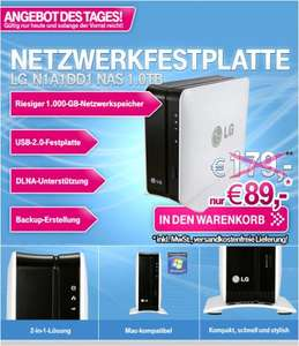 LG externe USB/NAS Netzwerkfestplatte 1TB DLNA