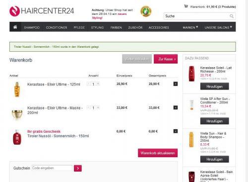 Haircenter24.de  ab 50€ Warenkorb Produkt für 17,50€ geschenkt
