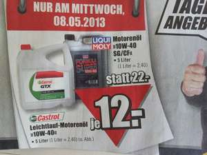 regional b1 baumarkt castrol und liquid moly motor l 5 liter. Black Bedroom Furniture Sets. Home Design Ideas