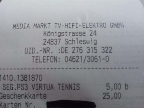 Lokal Media Markt Schleswig: PS3 Virtua Tennis 4 für €5,-