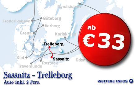 Fähre: Sassnitz - Trelleborg (Schweden) 33,- € für Auto mit bis zu 9 Personen mit Stena Line
