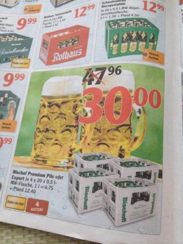 Globus-Bieraktion: 4 Kasten Bischof für 30€  (Lokal Kaiserslautern?)