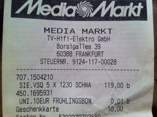Siemens VSQ5X1230 Q5.0 extreme silencePower Staubsauger / Lokal: Media Markt Borsigallee 39, Frankfurt / 109 statt 199 Euro