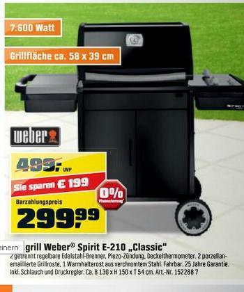 Weber Spirit E210 Classic für 299€ Obi Weinheim Eröffnung - mit Tiefpreisgarantie ~264 €