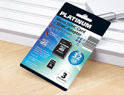 Aldi Süd: Platinum 32GB MicoSDHC Class 6 + Adapter für 17,99 EUR