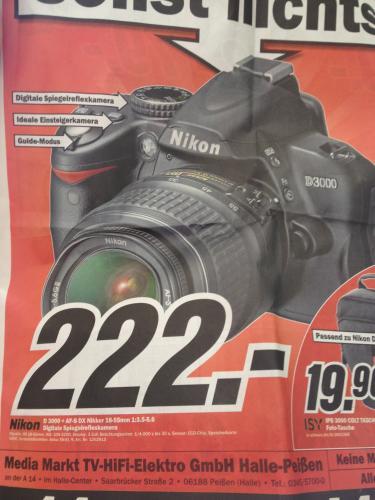 [lokal] Nikon D3000 +AF-S DX Nikkor 18-55mm 1:3.5-5.6 - MM Halle-Peißen