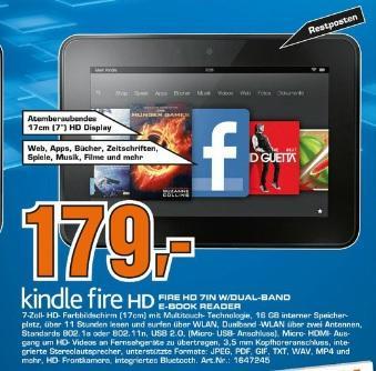 Kindle Fire HD 179EUR Saturn Düren.