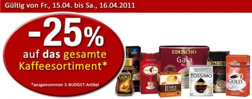 AT: 25% auf alle Kaffeesorten Heute und Morgen bei SPAR, Interspar u. Eurospar