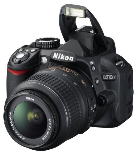 Nikon D3100 SLR-Digitalkamera (14 Megapixel, Live View, Full-HD-Videofunktion) Kit inkl. AF-S DX 18-55 VR Objektiv schwarz @ Amazon Blitzangebot