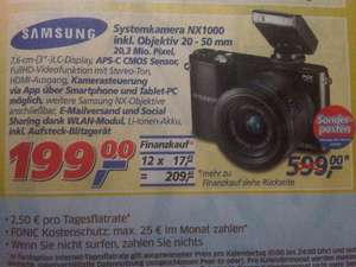 "Lokal+online (Real,-) Systemkamera Samsung NX1000 inkl. Objektiv 20 - 50 mm, 20, 3 Mio. Pixel, 3 "" LCD, APS - C CMOS Sensor"