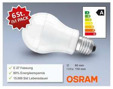 Osram LED STAR CLASSIC A40 E27 im 6er Pack für 49,94 € / 8,32 €/Stk mit Versand