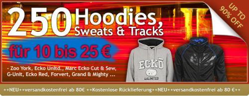 250 Marken-Hoodies, Pullover und Track Jackets für 10 bis 25 Euro. Von Ecko, Zooyork, G-Unit, Forvert, U.A.