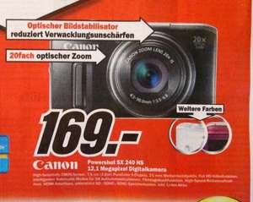 [Lokal] Canon PowerShot SX 240 HS Digitalkamera @MediMarkt Chemnitz