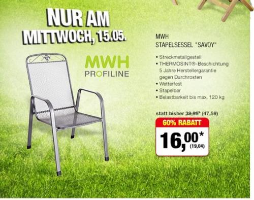 Metro - MWH Stapelsessel - Nur am 15.5.2013 - 19,04€