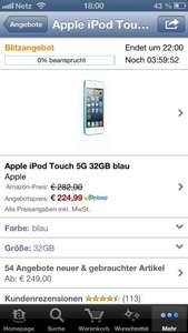 Apple iPod touch 5. Generation 32GB blau @Amazon Blitzangebote