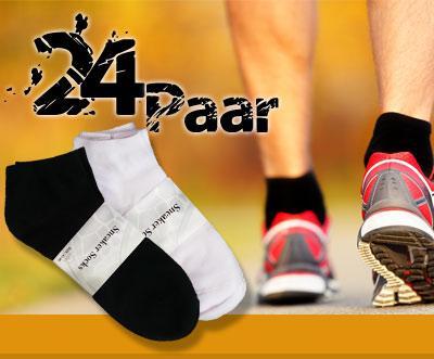 24 Paar Sneaker Socken  / Schwarz oder Weiß @ dailydeal