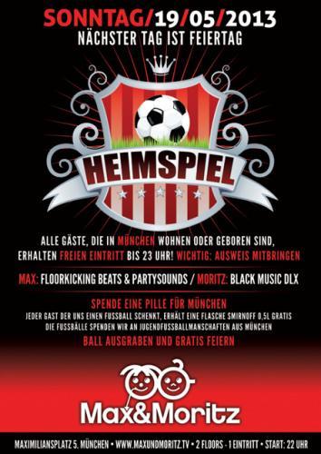 [München] am 19.05.2013 freier Eintritt für Müchner bis 23 Uhr und 0,5 l Smirnoff gratis für einen Fußball @ Max und Moritz