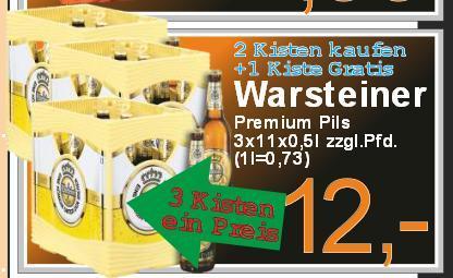 LOKAL - Oldenburg / aktiv irma: 3 Kisten mit jeweils 11x 0,5L Warsteiner für 12,- Euro.