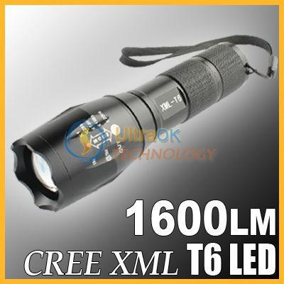 Taschenlampe Cree Led 1600 Lumen mit Zoom und 5 Mode