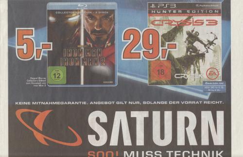 [Saturn Lokal Köln] Iron Man & Iron Man 2 Collector´s Edition Blu-ray für 5€