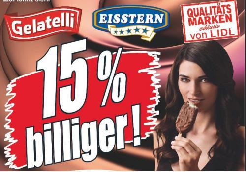 15% auf alle Eis-Artikel der Lidl-Qualtitäts-Marken (Bundesweit 21.05. - 25.05.)